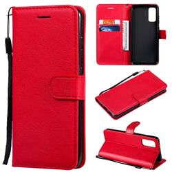 Retro Greek Classic Smooth PU Leather Wallet Phone Case for Samsung Galaxy S20 / S11e - Red