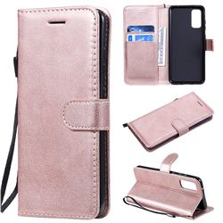 Retro Greek Classic Smooth PU Leather Wallet Phone Case for Samsung Galaxy S20 / S11e - Rose Gold
