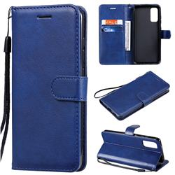 Retro Greek Classic Smooth PU Leather Wallet Phone Case for Samsung Galaxy S20 / S11e - Blue