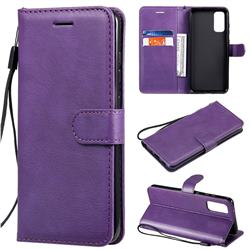 Retro Greek Classic Smooth PU Leather Wallet Phone Case for Samsung Galaxy S20 / S11e - Purple