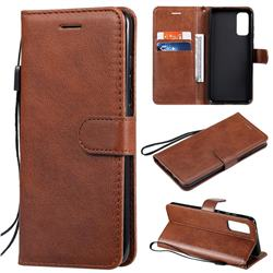 Retro Greek Classic Smooth PU Leather Wallet Phone Case for Samsung Galaxy S20 / S11e - Brown
