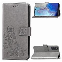 Embossing Imprint Four-Leaf Clover Leather Wallet Case for Samsung Galaxy S20 / S11e - Grey