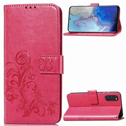 Embossing Imprint Four-Leaf Clover Leather Wallet Case for Samsung Galaxy S20 / S11e - Rose