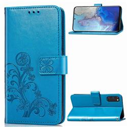 Embossing Imprint Four-Leaf Clover Leather Wallet Case for Samsung Galaxy S20 / S11e - Blue