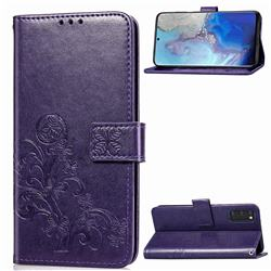 Embossing Imprint Four-Leaf Clover Leather Wallet Case for Samsung Galaxy S20 / S11e - Purple