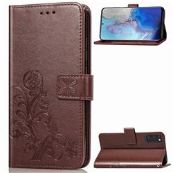 Embossing Imprint Four-Leaf Clover Leather Wallet Case for Samsung Galaxy S20 / S11e - Brown