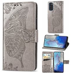 Embossing Mandala Flower Butterfly Leather Wallet Case for Samsung Galaxy S20 / S11e - Gray