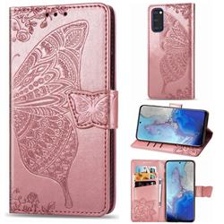 Embossing Mandala Flower Butterfly Leather Wallet Case for Samsung Galaxy S20 / S11e - Rose Gold
