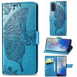 Embossing Mandala Flower Butterfly Leather Wallet Case for Samsung Galaxy S20 / S11e - Blue