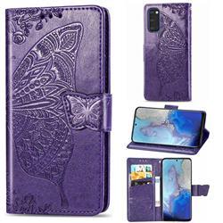 Embossing Mandala Flower Butterfly Leather Wallet Case for Samsung Galaxy S20 / S11e - Dark Purple
