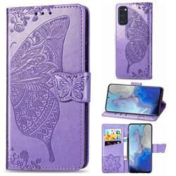 Embossing Mandala Flower Butterfly Leather Wallet Case for Samsung Galaxy S20 / S11e - Light Purple