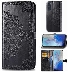 Embossing Imprint Mandala Flower Leather Wallet Case for Samsung Galaxy S20 / S11e - Black