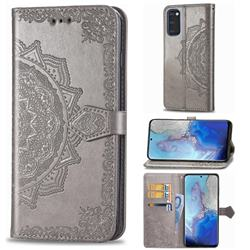 Embossing Imprint Mandala Flower Leather Wallet Case for Samsung Galaxy S20 / S11e - Gray