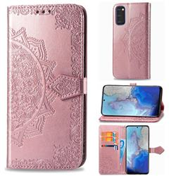 Embossing Imprint Mandala Flower Leather Wallet Case for Samsung Galaxy S20 / S11e - Rose Gold