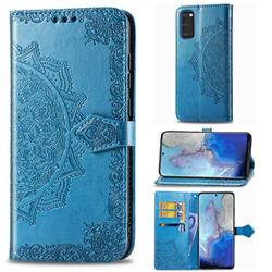 Embossing Imprint Mandala Flower Leather Wallet Case for Samsung Galaxy S20 / S11e - Blue