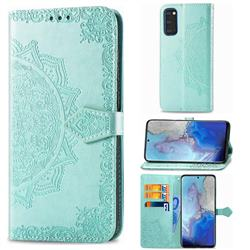 Embossing Imprint Mandala Flower Leather Wallet Case for Samsung Galaxy S20 / S11e - Green