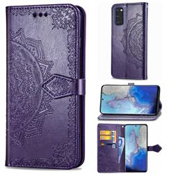 Embossing Imprint Mandala Flower Leather Wallet Case for Samsung Galaxy S20 / S11e - Purple