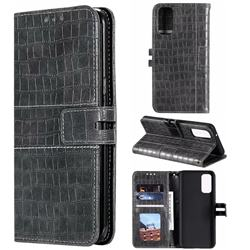 Luxury Crocodile Magnetic Leather Wallet Phone Case for Samsung Galaxy S20 / S11e - Gray