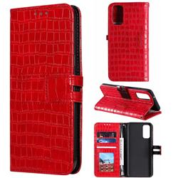 Luxury Crocodile Magnetic Leather Wallet Phone Case for Samsung Galaxy S20 / S11e - Red
