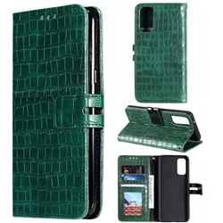 Luxury Crocodile Magnetic Leather Wallet Phone Case for Samsung Galaxy S20 / S11e - Green