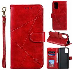 Embossing Geometric Leather Wallet Case for Samsung Galaxy S20 / S11e - Red