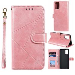 Embossing Geometric Leather Wallet Case for Samsung Galaxy S20 / S11e - Rose Gold