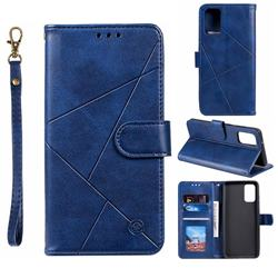 Embossing Geometric Leather Wallet Case for Samsung Galaxy S20 / S11e - Blue