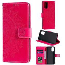 Intricate Embossing Datura Leather Wallet Case for Samsung Galaxy S20 / S11e - Rose Red