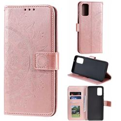 Intricate Embossing Datura Leather Wallet Case for Samsung Galaxy S20 / S11e - Rose Gold