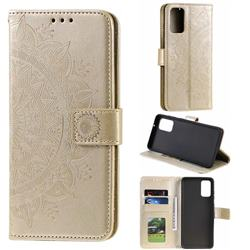 Intricate Embossing Datura Leather Wallet Case for Samsung Galaxy S20 / S11e - Golden