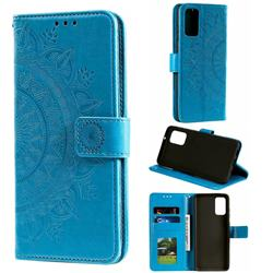 Intricate Embossing Datura Leather Wallet Case for Samsung Galaxy S20 / S11e - Blue