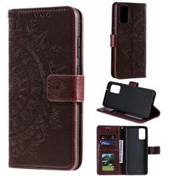 Intricate Embossing Datura Leather Wallet Case for Samsung Galaxy S20 / S11e - Brown