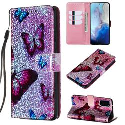Blue Butterfly Sequins Painted Leather Wallet Case for Samsung Galaxy S20 / S11e