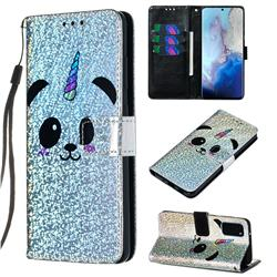 Panda Unicorn Sequins Painted Leather Wallet Case for Samsung Galaxy S20 / S11e