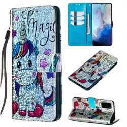 Star Unicorn Sequins Painted Leather Wallet Case for Samsung Galaxy S20 / S11e