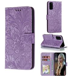 Intricate Embossing Lace Jasmine Flower Leather Wallet Case for Samsung Galaxy S20 / S11e - Purple