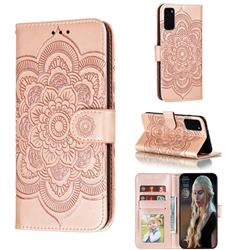 Intricate Embossing Datura Solar Leather Wallet Case for Samsung Galaxy S20 / S11e - Rose Gold