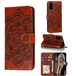 Intricate Embossing Datura Solar Leather Wallet Case for Samsung Galaxy S20 / S11e - Brown