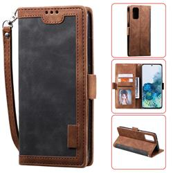 Luxury Retro Stitching Leather Wallet Phone Case for Samsung Galaxy S20 / S11e - Gray