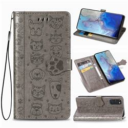 Embossing Dog Paw Kitten and Puppy Leather Wallet Case for Samsung Galaxy S20 / S11e - Gray