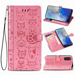 Embossing Dog Paw Kitten and Puppy Leather Wallet Case for Samsung Galaxy S20 / S11e - Pink