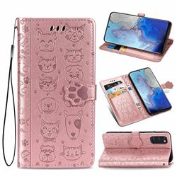 Embossing Dog Paw Kitten and Puppy Leather Wallet Case for Samsung Galaxy S20 / S11e - Rose Gold