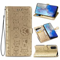 Embossing Dog Paw Kitten and Puppy Leather Wallet Case for Samsung Galaxy S20 / S11e - Champagne Gold