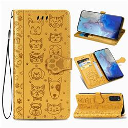 Embossing Dog Paw Kitten and Puppy Leather Wallet Case for Samsung Galaxy S20 / S11e - Yellow