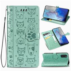 Embossing Dog Paw Kitten and Puppy Leather Wallet Case for Samsung Galaxy S20 / S11e - Green