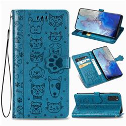 Embossing Dog Paw Kitten and Puppy Leather Wallet Case for Samsung Galaxy S20 / S11e - Blue