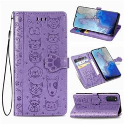 Embossing Dog Paw Kitten and Puppy Leather Wallet Case for Samsung Galaxy S20 / S11e - Purple
