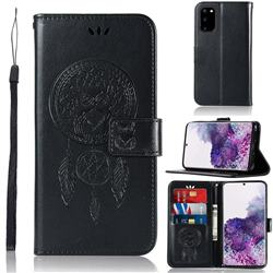 Intricate Embossing Owl Campanula Leather Wallet Case for Samsung Galaxy S20 / S11e - Black