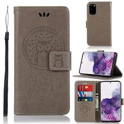 Intricate Embossing Owl Campanula Leather Wallet Case for Samsung Galaxy S20 / S11e - Grey