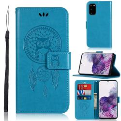 Intricate Embossing Owl Campanula Leather Wallet Case for Samsung Galaxy S20 / S11e - Blue